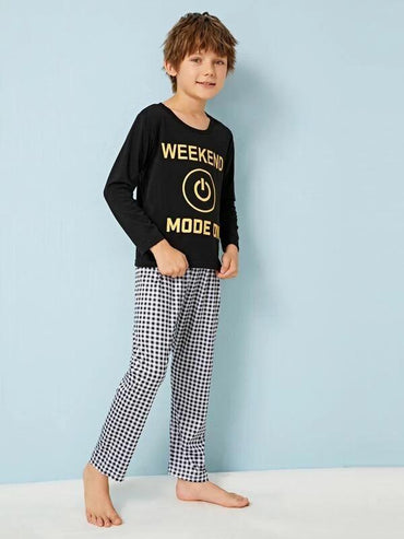 Boys Letter Graphic Gingham PJ Set
