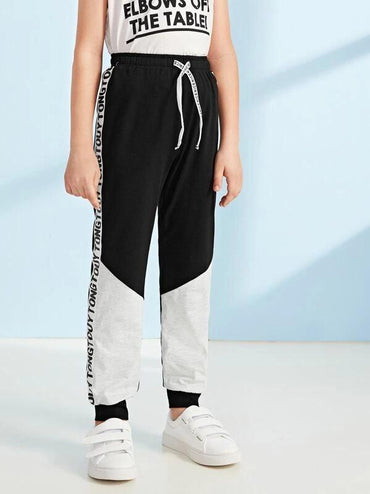 Boys Letter Side Tape Cut-And-Sew Pants