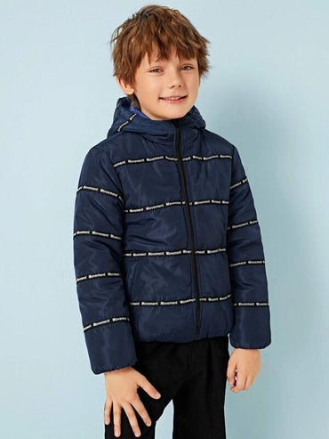Boys Letter Tape Zip Up Hooded Padded Jacket