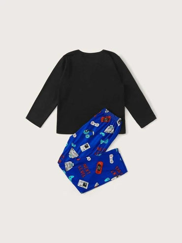 Boys Letter & Game Machine Print PJ Set