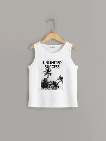 Boys Letter & Jungle Print Tank Top