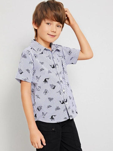 Boys Mixed Print Shirt