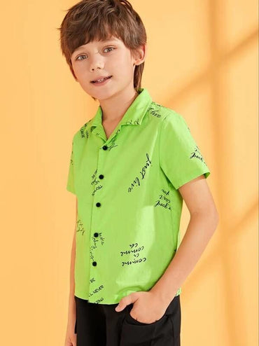 Boys Neon Lime Letter Print Shirt