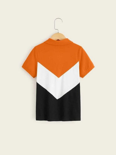 Boys Neon Orange Cut-And-Sew Chevron Polo Shirt