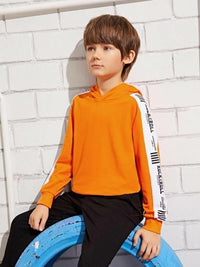 Boys Neon Orange Slogan Graphic Colorblock Hoodie
