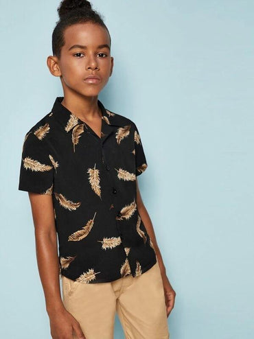 Boys Notch Collar Feather Print Shirt