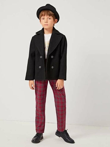 Boys Notch Collar Pea Coat
