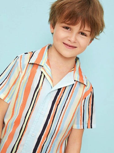 Boys Notch Collar Striped Shirt