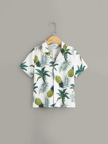 Boys Notch Collar Tropical Shirt