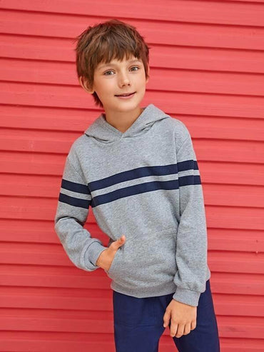 Boys Patch Pocket Striped Hoodie