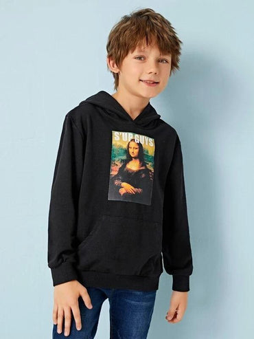 Boys Patched Detail Pocket Front Hoodie