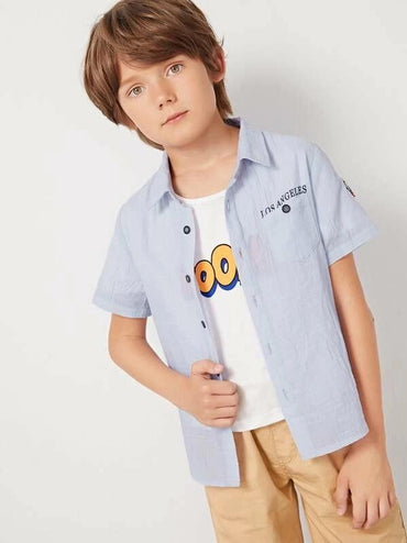 Boys Patched Detail Pocket Front Striped Shirt