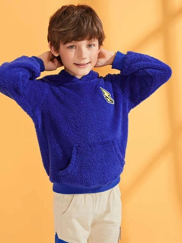 Boys Patched Detail Pocket Front Teddy Hoodie