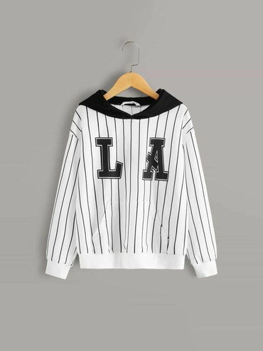 Boys Pocket Front Letter & Striped Hoodie