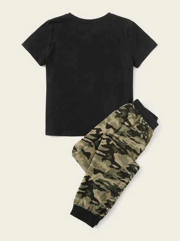 Boys Pocket Patched Top & Contrast Trim Camo Print Pants Set
