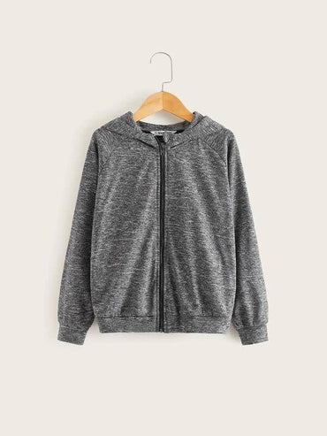 Boys Raglan Sleeve Space Dye Zip Up Hoodie