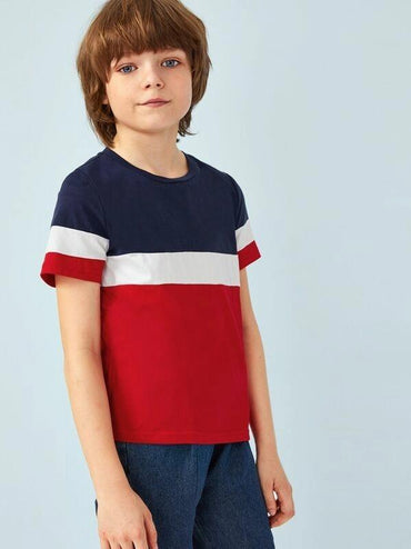 Boys Short Sleeve Colorblock Tee