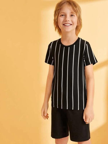 Boys Short Sleeve Striped Top & Shorts Set