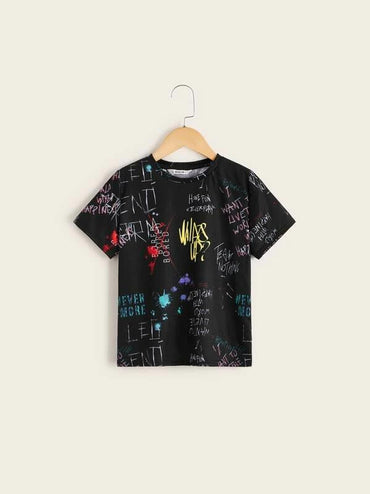 Boys Slogan And Ink Print Tee