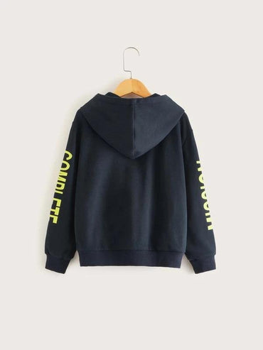 Boys Slogan Graphic Kangaroo Pocket Zip Up Hoodie