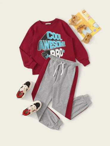 Boys Slogan Graphic Pullover & Striped Side Joggers Set