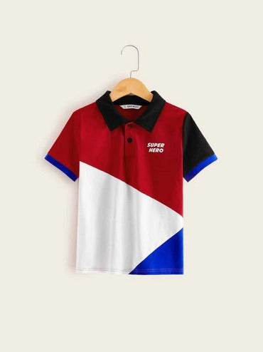 Boys Slogan Print Contrast Collar Polo Shirt