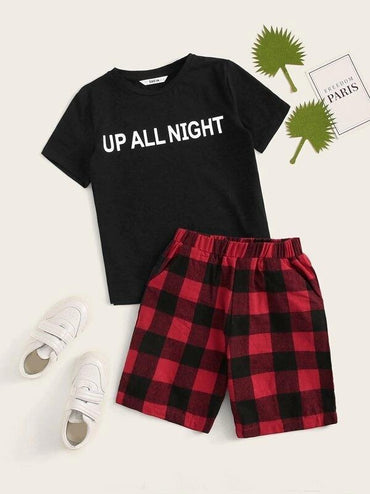 Boys Slogan Print Tee & Buffalo Plaid Shorts Set