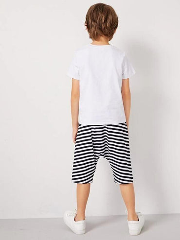 Boys Slogan Print Top And Striped Shorts Set