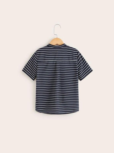 Boys Stand Collar Striped Shirt