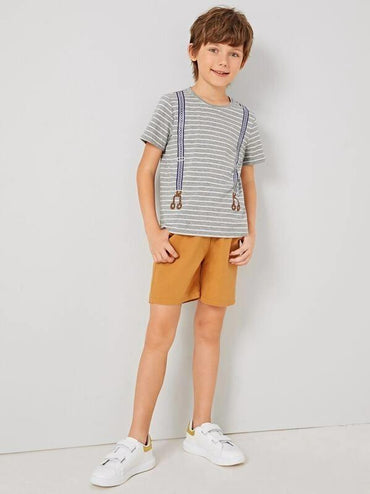 Boys Strap Print Striped Top & Knot Shorts Set