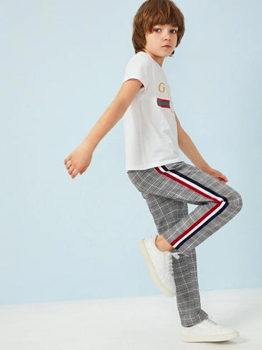 Boys Striped Tape Side Plaid Pants