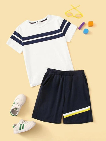 Boys Striped Top & Patch Pocket Shorts Set