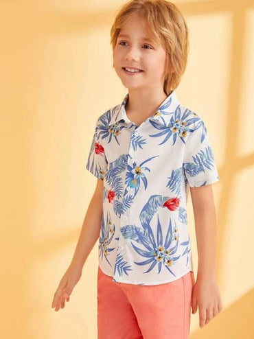 Boys Tropical And Floral Print Shirt