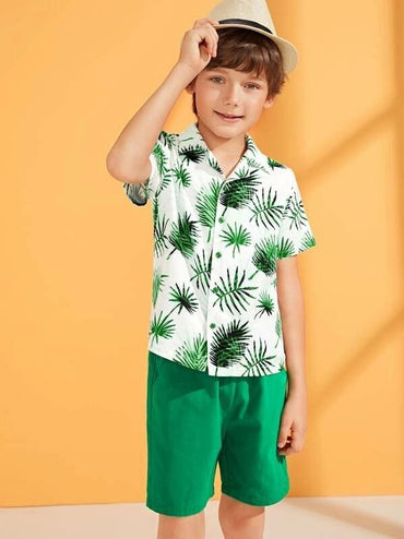 Boys Tropical Button Blouse & Drawstring Waist Shorts Set