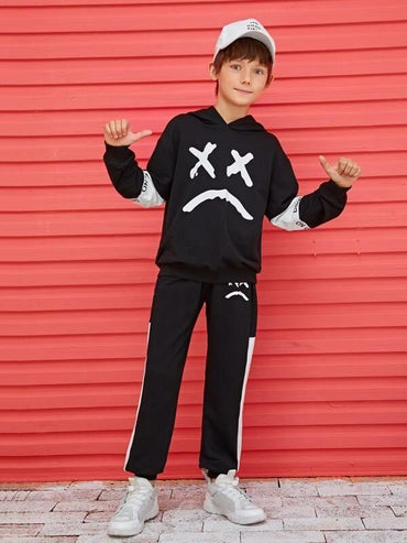 Boys Two Tone Cartoon Graphic Hoodie & Sweatpants Set