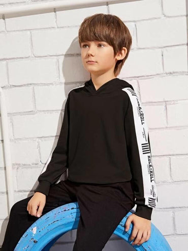 Boys Two Tone Letter Graphic Hoodie