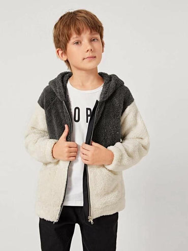 Boys Two Tone Patch Pocket Zipper Up Teddy Hoodie