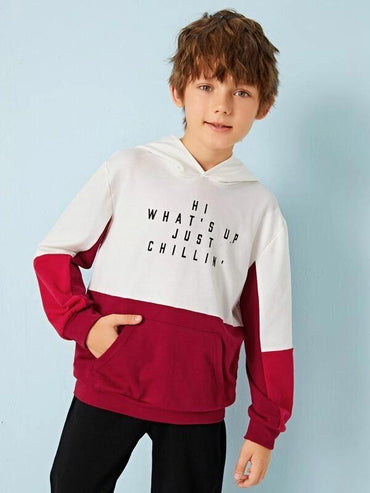 Boys Two Tone Slogan Graphic Patch Pocket Hoodie