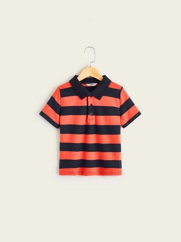 Boys Two Tone Striped Polo Shirt