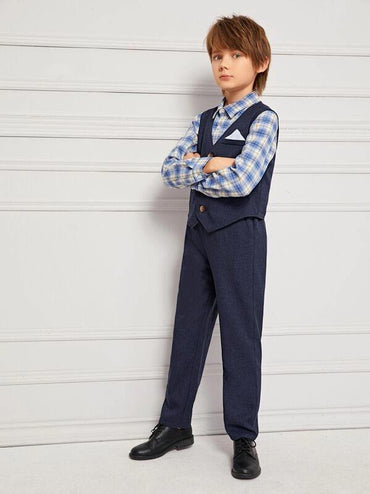 Boys Unfuctional Handkerchief Pocket Front Jacket And Pants Set