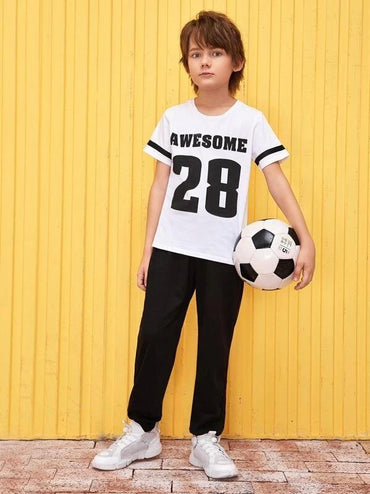 Boys Varsity Print Top & Pocket Detail Pants Set