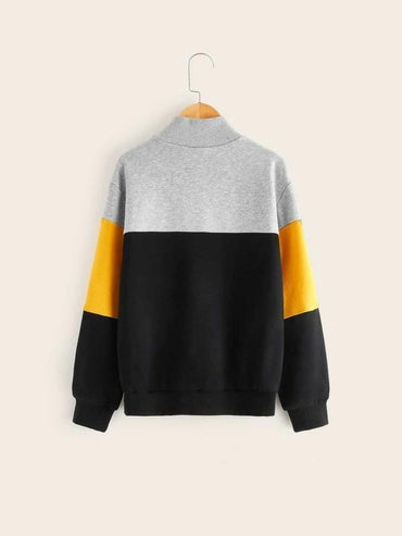 Boys Zip Half Placket Colorblock Letter Graphic Pullover