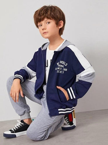 Boys Zip Up Colorblock Hooded Sweatshirt