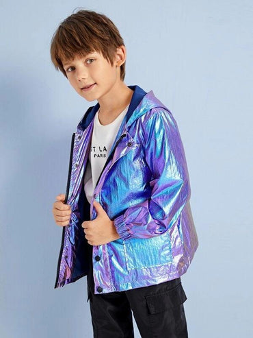 Boys Zip Up Holographic Metallic Pocket Hooded Jacket