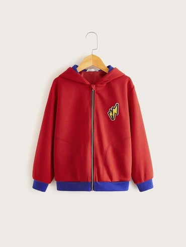 Boys Zip Up Lightning Patched Jacket