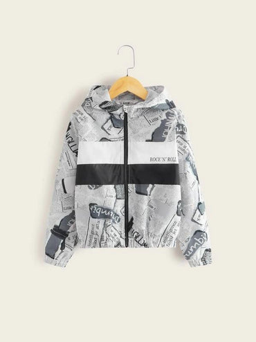 Boys Zip Up Newspaper Print Hooded Jacket