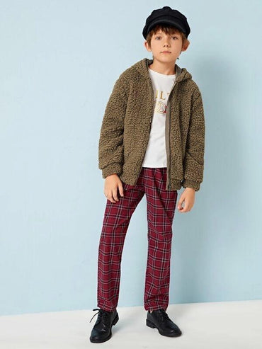 Boys Zip Up Teddy Coat