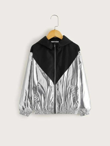 Boys Zip Up Two Tone Metallic Hoodie