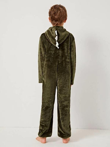 Boys Zipper Front Hooded Fleece Dragon Onesie