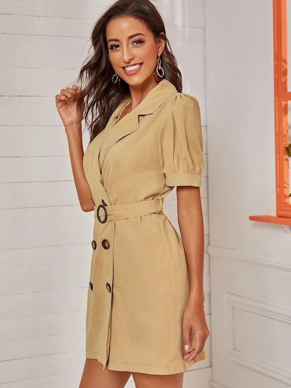 Breasted Puff Sleeve Belted Dress